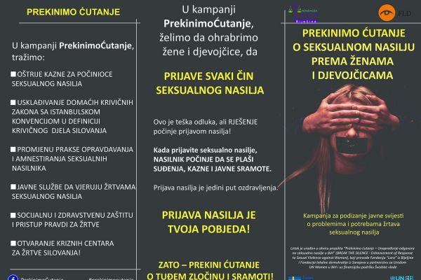 Ulične akcije u okviru kampanje PrekinimoĆutanje o nezaštićenosti žena i djevojčica, žrtava seksualnog nasilja u BiH